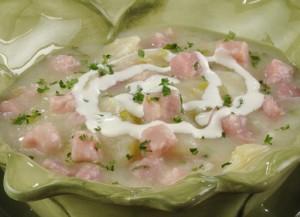 Суп-пюре из цветной капусты с ветчиной