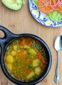 Овсяный суп с зеленым горошком