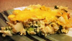 Запеканка из курицы, риса и брокколи