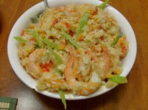 Рис по-тайски с кокосом и креветками
